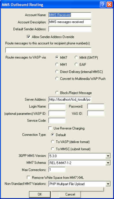 MMSC Routing - settings screen shot